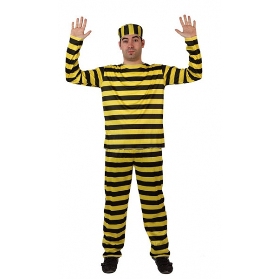 e88169f30d1fbb Gevangene kostuum geel met zwart in de Carnavalskleding winkel